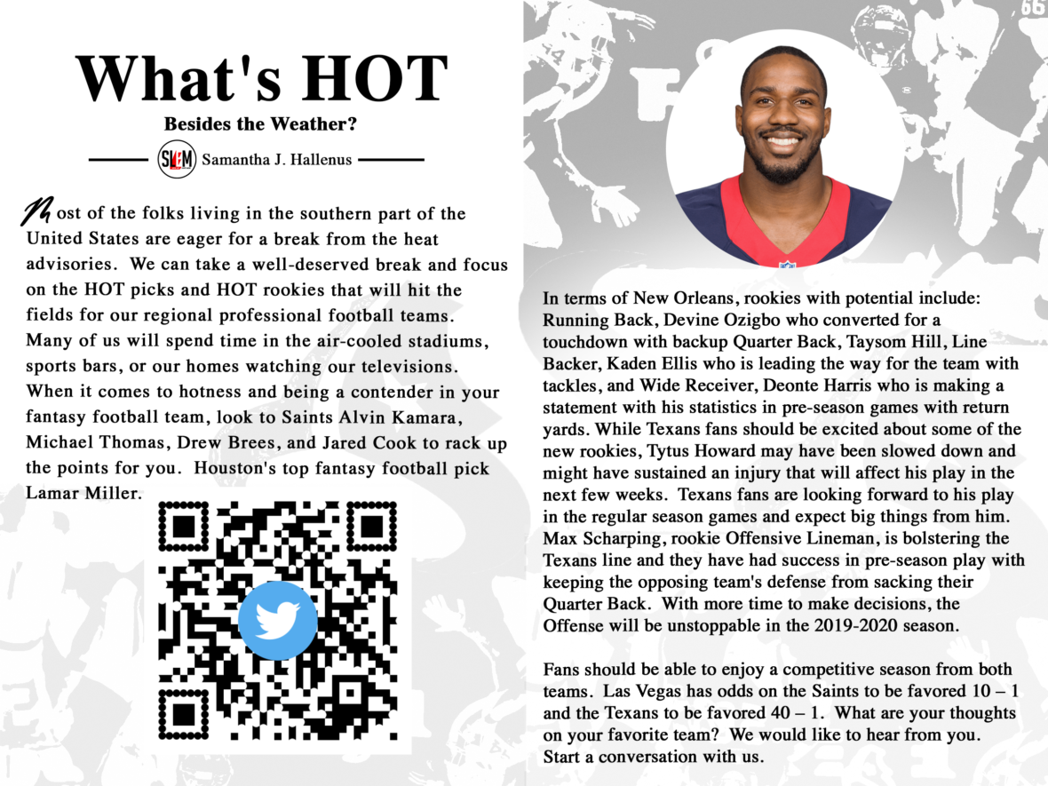 WHAT'S HOT, Besides the Weather? by Samantha J. Hallenus