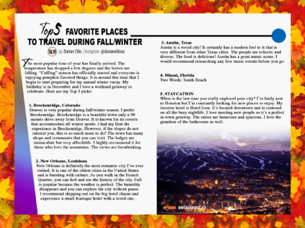 Top 5 Favorite Places to Travel During Fall/Winter (SLEM – Nov)